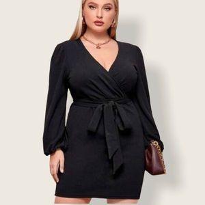 Plus size faux wrap black dress size 1X